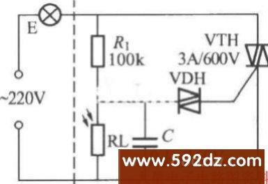 光敏电阻器rl因受自然光线照射
