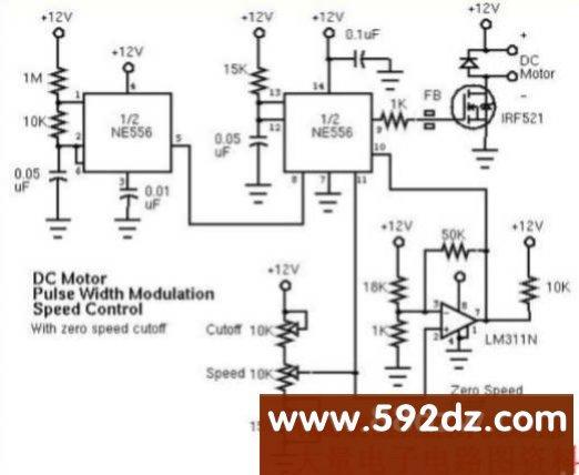 脉宽调制(pwm)直流电机速度控制器电路图