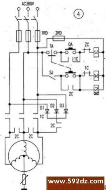 电子电路图 控制电路图 电机控制电路图 简单实用的电动机能耗制动