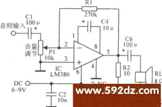由音频放大集成电路lm386组成的实际电路