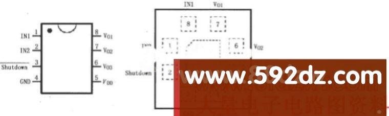LM4910立体声耳机放大器,http://www.592dz.com 相关元件PDF下载: LM4910 LM4910是音频功率放大器,主要设计用于便携式设备,采用3.3V电源供电,能够输出35mW连续平均功率,带动32负载。LM4910利用新的拓扑电路,取消了耳机放大器输出耦合电容和半电源旁路电容,它包含先进的喀-扑声消除电路,这种噪声在转换开关通断瞬间产生。LM4910的引脚排列如图所示。