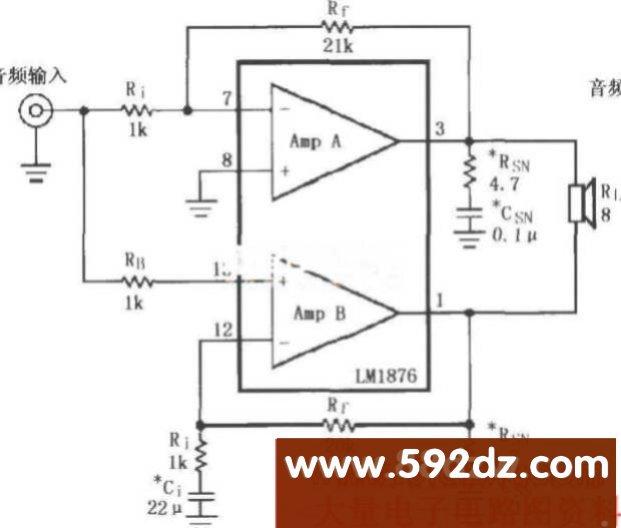 lm4730/4731内部放大器a和放大器8实际上形成推挽放大电路.