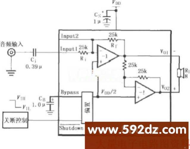 amp a1和amp a2电路增益为1;差分输出增益av=2rf/ri.