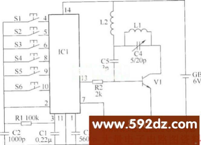 无线遥控开关电路(三),http://www.592dz.com 相关元件PDF下载: S9018 S9018 S9014 3DG9014 S9013 TLC336A LC220A LC219 本例介绍无线遥控开关,具有动作可靠、简单实用等特点,能在6m范围遥控6路家庭用电设备。 该无线遥控开关电路由无线发射电路和无线接收控制电路组成。 无线发射电路由编码集成电路IC1、控制按钮S1~S6、晶体管V1、电阻器R1、R2、电感器L1、L2、电容器C1~C5和电池GB组成,如图所示。 无线发射电路 无线接收控