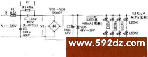 它的印制电路见图2,led灯板印制电路见图3.
