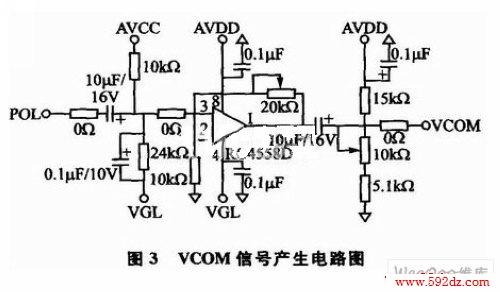pol信号要经过运放电路,然后叠加直流信号,产生vcom信号送给模拟屏