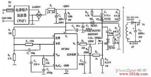 220v交流电先通过pnf滤掉射频干扰,再经过整流滤波获得约 300v直流
