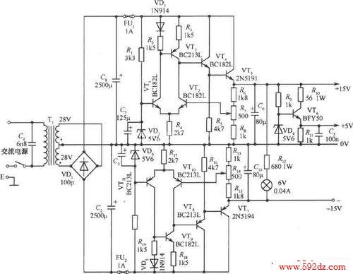 ±15v,5v三种输出稳压电源电路图