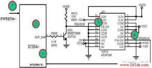 电脑主板启动时的电源控制电路图