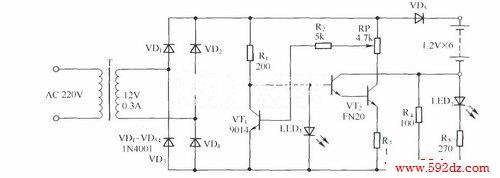 镉镍电池恒流快速充电器电路(对讲机用)