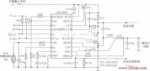 4a/12.3v锂离子电池充电器电路(ltc4008为控制芯片)