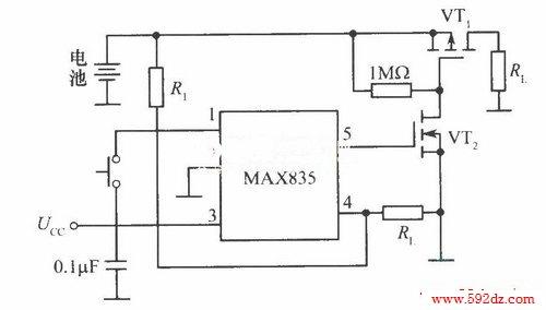 max834监视电池低电压切断电源电路
