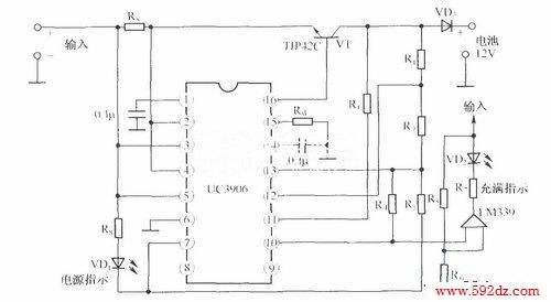 12v阀控密封铅酸电池双电平浮充充电器的电路图 uc3960