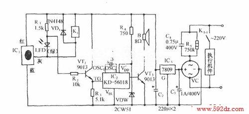 ic1是一种压电式料位传感集成电路,它由自激式振荡器,整流电路,电压