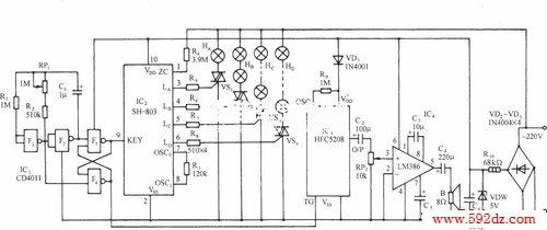 lm386            如图所示电路,采用sh-803彩灯控制集成电路进行
