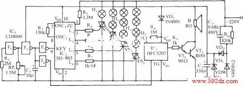 sh-803节日彩灯伴迪斯科乐曲控制电路