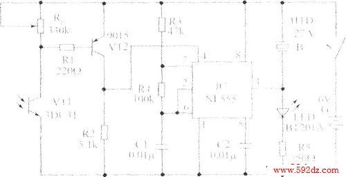 遥控检测器的电路原理图