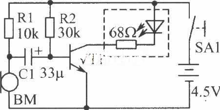 由话筒产生的音频信号通过电容器c1送到三极管vt1的基极,使三极管的