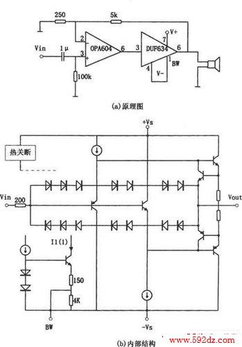 opa604高性能小功率音频功率放大器电路图