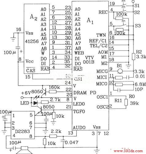 b典型应用电路图 -- 正文       ②工作电源为两种电源:直流6~9v和4.