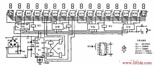 本双音频话拨号显示电路由定极电路(d1~d4,r1,r2,dw)双音频译码电路
