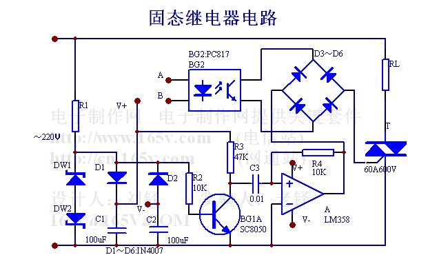 50A固态继电器电路,http://www.592dz.com 固态继电器是半导体器件的组合装置。它具有无触点,寿命长,可靠性高,使用安全,电磁干扰小等优点。图1-1是固态继电器的一种电路。 工作原理:从DW1、DW2上取出的削顶正弦信号经反相器BG1输出方波再经运算放大器A输出尖峰脉冲信号。尖峰脉冲加在D3~D6的交流对角线与SCR的控制极和阴极间,D3~D6的直流对角线接在光电耦合器的输出端。当从A、B输入低压小电流信号时,二极管发光,光敏管导通,于是从A运算放大器中输出的尖峰脉冲触发SCR导通,角载