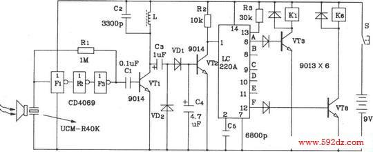 lc219/220a构成超声波6路遥控接收应用电路图