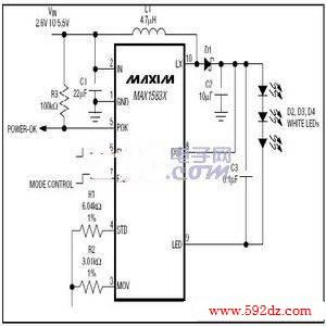照相手机闪光灯驱动典型应用电路max1583能够调节流