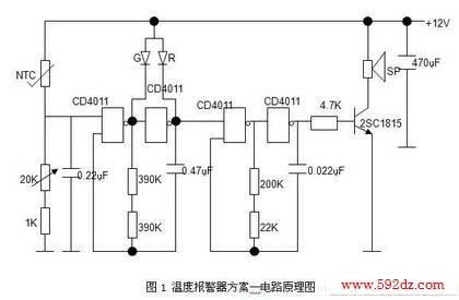 2电路设计方案二的工作原理     该温度报警器的电路如图2所示.