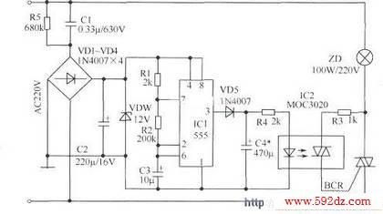 ic2用moc220,moc3021或moc3041等晶闸管型光电耦合器.