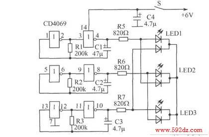 有趣的彩灯电路电路_电子制作